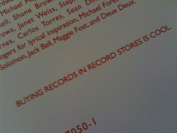 Nice sentiment on the inside sleeve too. I did try to find it in a record store before tapping Amazon.