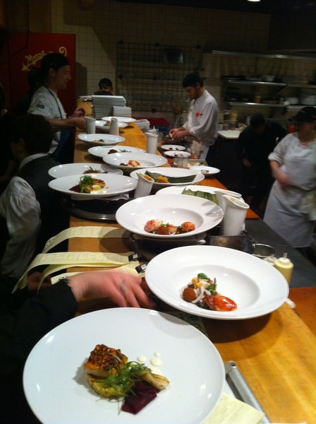 Very proud of our staff! They're turning out beautiful food for a packed house.