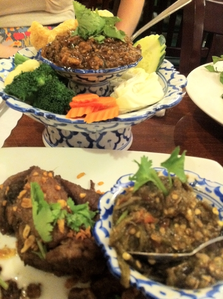 Vegas Lotus of Siam: nam prik noon (frnt), nam prik ong (bk):red chile dip, tom-red chile pork dip.Chiangmai prfct