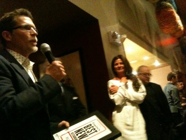 "Esquire ""Top 10 New Restos"" dinner:Tony May's new SD26.Pic:recvg award frm John Mariani w Red O chef Michael Brown"