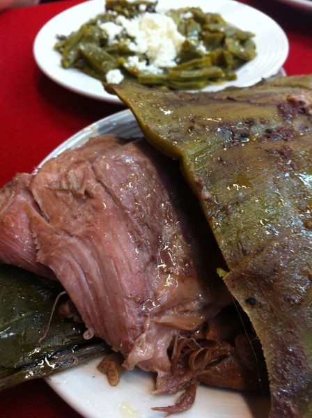 Arroyo: lamb barbacoa served in agave w nopales &amp; salsa borracha (pasilla, garlic, pulque)