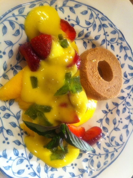 Adobe Guad dinner: mango&amp;local strawberries, chamomile sabayon, candied green prickly pear 