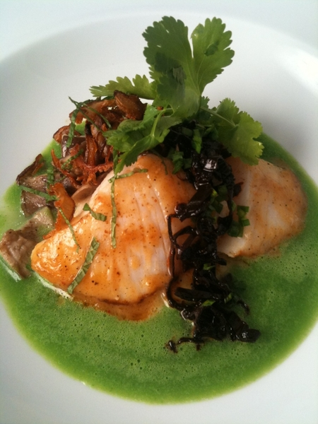 New Topolo Adventurer's Tasting Menu: 3rd crs: halibut cheek,yellow fava mash,pkld black pasilla,herb-green verde