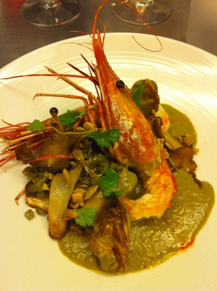 Possible new dish4next Topolo Adventr Menu: SB spot prawns w baby artichokes, shrooms, pigs ears, green pipian